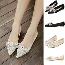 Womens Pearls Flats Shoes Pointed Toe Causal Home Ladies Comfort Ballerina Shoes