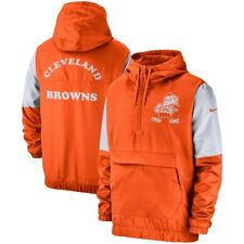 New 2019 Nike Cleveland Browns Fan Gear Historic Anorak 1/4 Zip Pullover Jacket