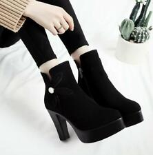 Women Floral Fur Lined Ankle Boots Winter Warm Platform High Heel Chunky Shoes