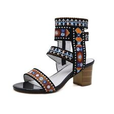Womens Med High Heels Sandals Roman Bohe Summer Beach Shoes Peep Toe Over Ankle