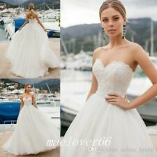 Bohemian Lace Tulle Beach Wedding Bridal Gowns Sweetheart A-Line Wedding Dresses