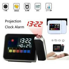 Digital Clock Alarm LED Projection Time Thermometer Snooze Calendar LCD Backlite
