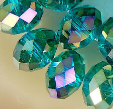 7x10mm Faceted Blue Rainbow AB Crystal Beads 36pcs