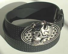 MEN WOMAN STUDDED BLACK SNAP ON BELT WITH HORN BUCKLE