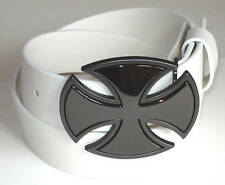 MEN WOMAN WHITE SNAP ON BELT WITH PATENT CROSS BUCKLE