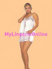 White Satin Camisole And Tap Pants With Rose Lace Trim