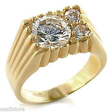 Mens Simulated Diamond Three St. 18kt Gold Plated Ring Size 8 and size 11