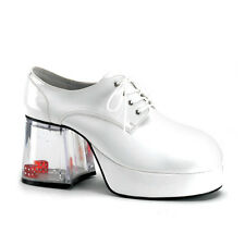 Men's White Pimp Shoes with Floating Dice Disco Fun