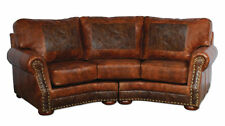 Cameron Ranch Curved 100% Leather Sofa Made in USA