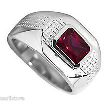 Ruby Red Emerald Cut Stone Silver Rhodium EP Mens Ring