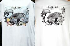 SUN ACTIVATED DOLPHINS White  Sz Sm - 5XL Color Comes To Life In The Sun