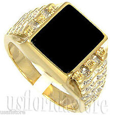 Mens Black Onyx Tutone 18kt Gold Plated Ring New