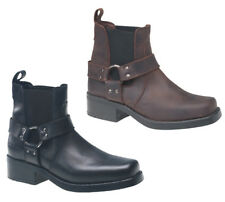 MENS COWBOY LEATHER PULL ON ANKLE BOOTS SIZE 6-12