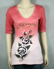 Ed Hardy Women's TWO ROSES Dip dye Red v-neck t-shirt