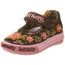 Lelli Kelly LK9435 Pretty Baby Brown Mary Jane Shoes NEW Hand Beaded Velcro