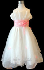 White Pink Wedding Briadsmaid Flower Girls Pageant Party Dress Gown Age 2-13 T
