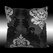 """2X BLACK SILVER DAMASK PILLOW CASES CUSHION COVERS 17"""""""