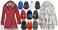 Women Check Hood Jacket Coat Ladies Belt Button Fleece Hooded Coats 6 8 10 12 14