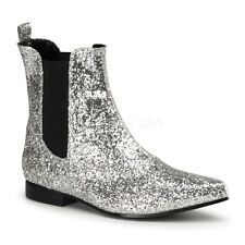 """Mens Silver Glitter Rockstar 1"""" Heel Halloween Costume Ankle Boots Shoes"""