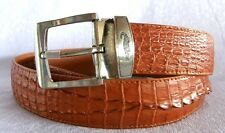 "Premium!!! CAIMAN FULL HORNBACK ""Head to Tail"" LEATHER MENS CROCODIE BELT TAN"