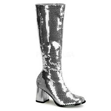 BORDELLO Womens Sexy Knee High Heels Silver Sequin Knee High Gogo Boots Shoes