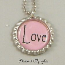"""""""LOVE"""" Inspirational Word Saying Bottle Cap Charm Altered Art NECKLACE 24"""" NEW"""