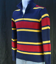 Large NWT Polo Ralph Lauren Striped  Boy's Sweater Half Zip