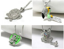 NEW CRYSTAL FROG LILY PAD TOUCAN TURTLE PENDANT NECKLACE