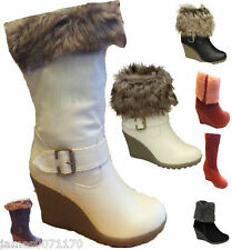 WOMENS FASHION BOOTS LADIES FUR DETAIL WEDGE HEEL BOOTS SIZES UK 3,4,5,6,7,8