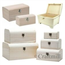 Plain Wooden TREASURE PIRATE CHEST - choose singles or sets trinkets  / storage
