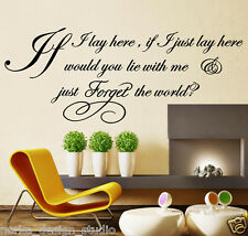 WALL ART QUOTE sticker IF I LAY HERE SNOW PATROL LYRICS XXL SIZE , N37