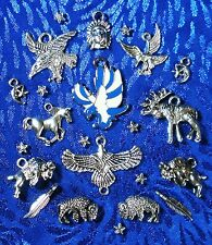 Tibetan Silver Western Charms - Buffalo Indian Elk Eagle Horse  - USA Seller!!