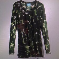 **sz L* Simply VERA WANG Tulle Overlay Soft Cotton Longer Top Tunic Dress Blouse