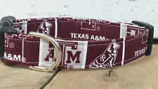 Texas A&M University Dog Collar, buckle, Martingale with leash set option