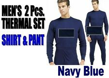 Mens THERMAL 2pc SET Waffle Knit Underwear Long John Top Bottom NAVY S-XL 2X 3X