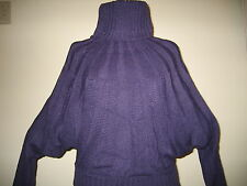 PURPLE DOLMAN SLEEVE SWEATER TURTLENECK THICK VERY WARM PULLOVER SIZES: S-M-L-XL