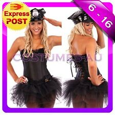 Ladies Police Cop Uniform Fancy Party Dress Costume Hat Tutu skirt Corset