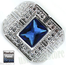 Blue CZ Stone With Full Crystals Rhodium Plated Mens Ring