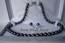16 18 20 24 30 36 Inch ROUND 8-9mm Black Pearl Necklace Earrings Set Freshwater
