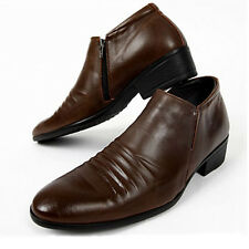 Mens Dress Casual Formal Brown Ankle Boots Shoes Fashion
