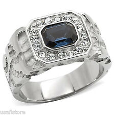 Mens Montana Blue Stones & Crystal Stainless Steel Ring