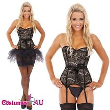 Burlesque Boned Moulin Rouge Corset Dress Up Costume Showgirl Bustier Tutu Skirt