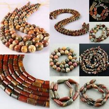 Picasso Jasper Stone Round Coin Ball Teardrop Column Spacer Loose Beads Findings