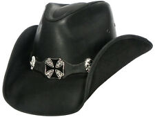 HIGHWAY TO HELL Austin Leather Cowboy Hat with Shapeable Brim in Black Color