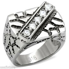 Five Clear CZ Stones Siver Stainless Steel Mens Nugget Ring