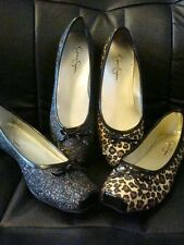 Jessica Simpson Leve Leopard or Black Glitter Ballet Flat Girls Dress shoes NEW