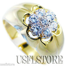 Mens 7 Simulated Diamond Crown 18kt Gold Plated Ring