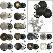8 x 17mm Jean Stud Buttons in Silver with Pins (Hammer on)  & 4 other colours