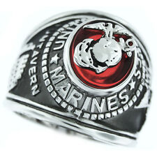 Mens Marines Seal Red US Military Rhodium Plated Ring