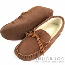 LADIES GENUINE SUEDE MOCCASIN SHEEPSKIN SLIPPERS SOFT SOLE BROWN SIZES 3 - 9